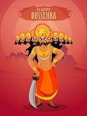 Illustration of angry Ravana with ten heads holding sword for Indian Festival, Happy Dussehra celebration. poster
