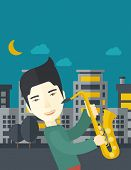 An asian musician playing saxophone in the streets at night vector flat design illustration. Vertical layout with a text space. poster