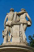Three Graces (Tri Gracie) statues with deep blue sky - Lednice Valtice Czech Republic poster