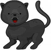Illustration of a a Cute Panther Flashing a Toothy Grin poster