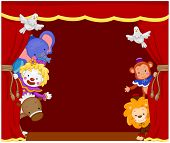 Illustration of Cute Circus Clowns and Animals on Stage poster