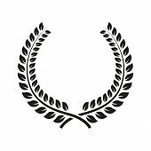 The laurel wreath icon. Prize and reward, honors symbol. Flat Vector illustration. Button Set poster