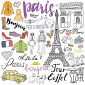 Paris doodles elements. Hand drawn set with eiffel tower bred cafe taxi triumf arch fashion elements cat and french bulldog. Drawing doodle collection and lettering isolated on white poster