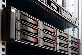 photo of rack mounted disk array server poster