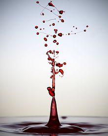 Splashes of red liquid