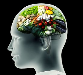 Xray Image Of Human Head With Vegetables For A Brain.