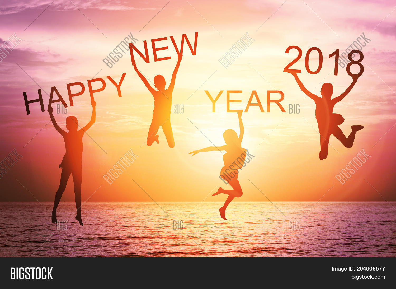 happy new year card 2018 silhouette of children girl jump on tropical beach with fantastic