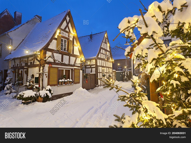Christmas Village In Germany.Snowy Christmas Street Image Photo Free Trial Bigstock
