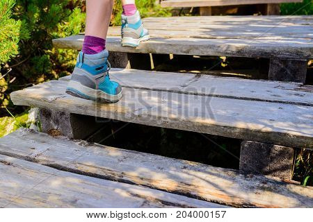 Hiking Woman With Boots On Wooden Trail, Outdoors Activity