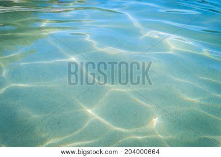 Beautiful Pattern Of Blue Water Reflecting The Sun