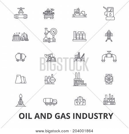 Oil and gas industry, rig, platform, exploration, refinery, energy, industrial line icons. Editable strokes. Flat design vector illustration symbol concept. Linear signs isolated on white background