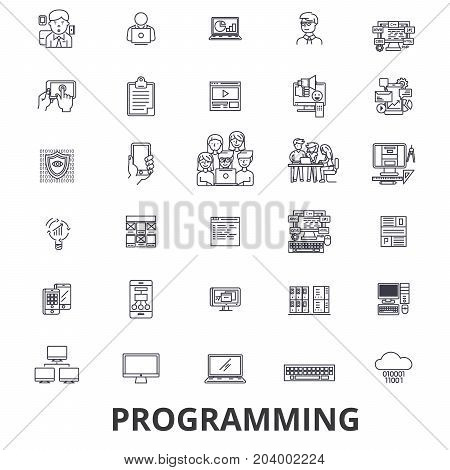Programming, programmer, code, computer, software, development, application line icons. Editable strokes. Flat design vector illustration symbol concept. Linear signs isolated on white background