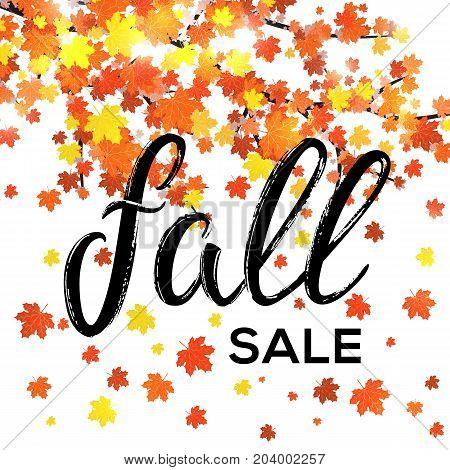 Fall sale lettering banner design. Seasonal discount autumn leaf poster with textured hand drawn typography and leaves on white background. Colorful vector illustration. EPS10