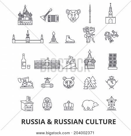 Russia, moscow, map, russian flag, matryoshka, kremlin, ussr, st petersburg, sights line icons. Editable strokes. Flat design vector illustration symbol concept. Linear signs on white background