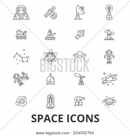 Space, star, planet, spaceship, outer, galaxy, astronaut, earth, universe, moon line icons. Editable strokes. Flat design vector illustration symbol concept. Linear signs isolated on white background