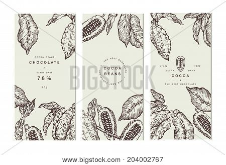 Cocoa bean tree banner collection or packaging design. Design templates. Engraved style illustration. Chocolate cocoa beans. Vector illustration