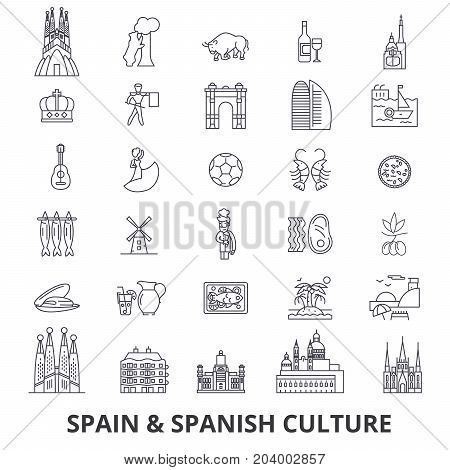 Spain, barcelona, madrid, spanish, flamenco, mediterrian line icons. Editable strokes. Flat design vector illustration symbol concept. Linear signs isolated on white background