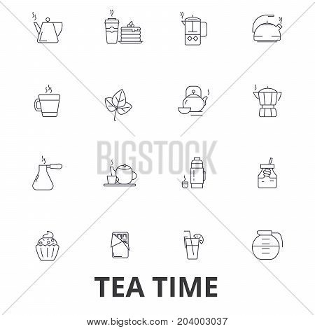 Teatime, tea, teacup, cafe, tea party, afternoon drinks, cupcake, pot line icons. Editable strokes. Flat design vector illustration symbol concept. Linear signs isolated on white background