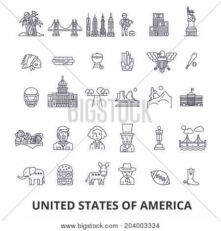 Usa, america, new york, statue of liberty, united states, famous landmarks, sights line icons. Editable strokes. Flat design vector illustration symbol concept. Linear signs on white background