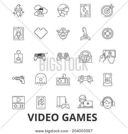 Video computer games, controller, play, screen, arcade, console, joystick line icons. Editable strokes. Flat design vector illustration symbol concept. Linear signs isolated on white background