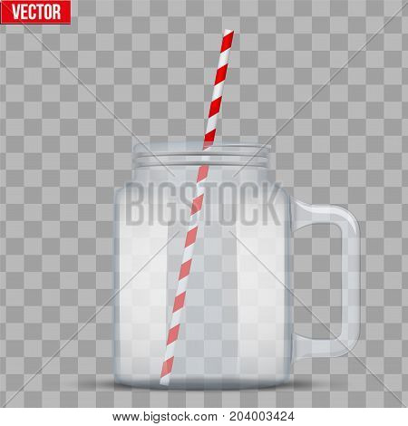 Glass Mason Jar without cap with handle for cocktail and lemonade and smoothie. For bar and restaurant menu. Vector Illustration isolated on transparent background.