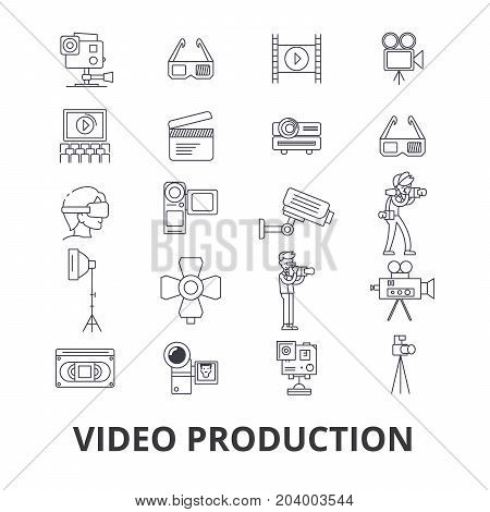 Video production, camera, editing, film, cinema, movie shoot, player line icons. Editable strokes. Flat design vector illustration symbol concept. Linear signs isolated on white background