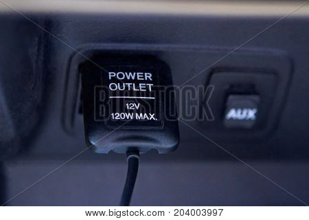 Power outletin in the car of black