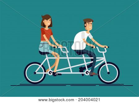 Cool vector flat design happy young man and woman characters couple riding tandem bicycle isolated. Young hipsters couple riding twin bike laughing happily