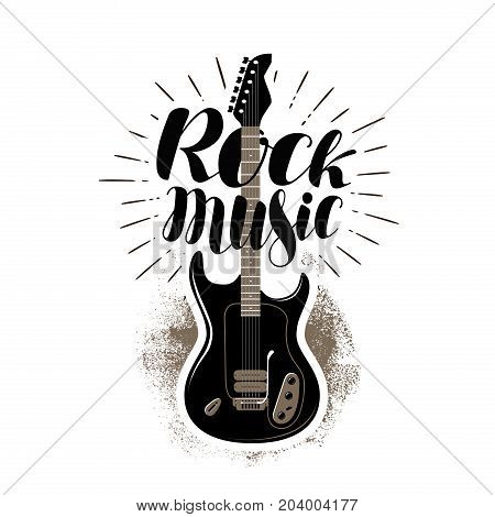 Rock music, lettering. Guitar, fretboard label. Vector illustration isolated on white background