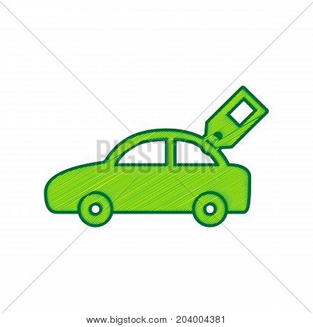 Car sign with tag. Vector. Lemon scribble icon on white background. Isolated