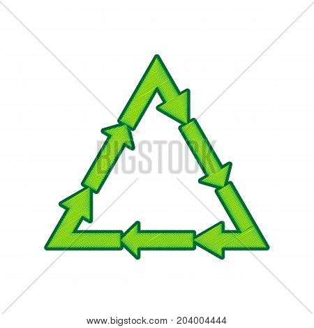 Plastic recycling symbol PVC 3 , Plastic recycling code PVC 3. Vector. Lemon scribble icon on white background. Isolated