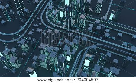 Roads and skyscrapers from a bird's eye view. Road junctions. Futuristic skyscrapers in the flow of information. 3d render. 3d illustration. The flow of digital data. city of the future