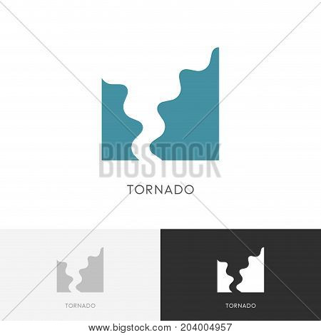 Tornado logo - storm, hurricane or twister symbol. Natural disaster and bad weather vector icon.