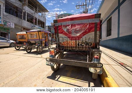 March 19 2017 Tumbes Peru: mototaxis are a popular and cheap method of transportation