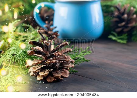 Fir   Bumps Cones, Blue Cup Cacao On The Dark Wooden Background