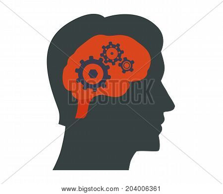 Human brain vector illustration. Human brain Icon