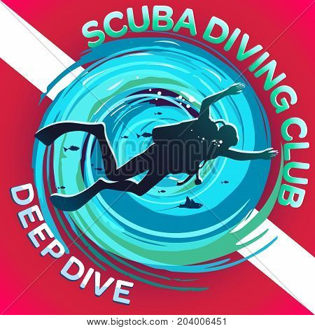 Vector image of a scuba diver on a background of a stylized maelstrom with a flag or a scuba mark diving: a white strip on a red background. Inscriptions: Scuba Diving Club & Deep Diving.
