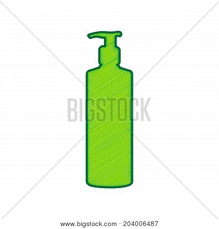 Gel, Foam Or Liquid Soap. Dispenser Pump Plastic Bottle silhouette. Vector. Lemon scribble icon on white background. Isolated