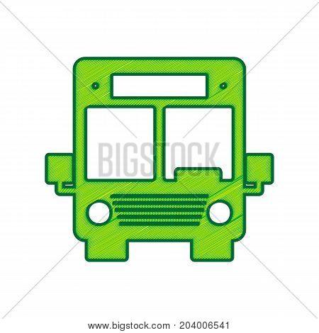 Bus sign illustration. Vector. Lemon scribble icon on white background. Isolated