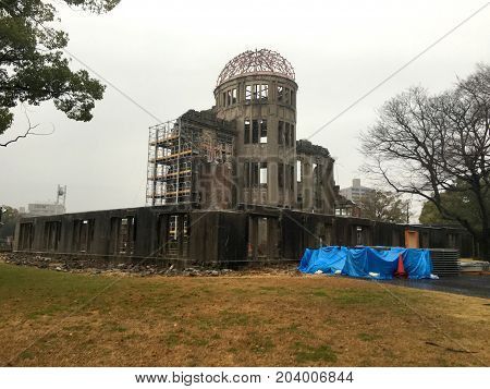 Hiroshima Peace Memorial Genbaku Atomic Bomb Dome in Japan