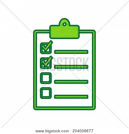 Checklist sign illustration. Vector. Lemon scribble icon on white background. Isolated