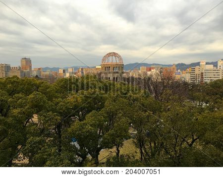 Hiroshima Japan, 3 February 2016: Hiroshima Peace park Memorial Genbaku Atomic Bomb Dome in Japan
