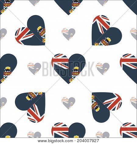 Cayman Islands Flag Patriotic Seamless Pattern. National Flag In The Shape Of Heart. Vector Illustra
