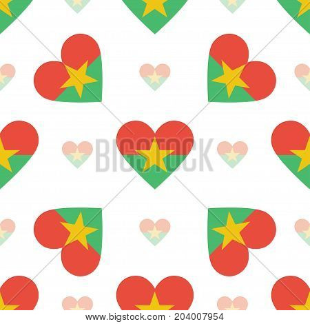 Burkina Faso Flag Patriotic Seamless Pattern. National Flag In The Shape Of Heart. Vector Illustrati