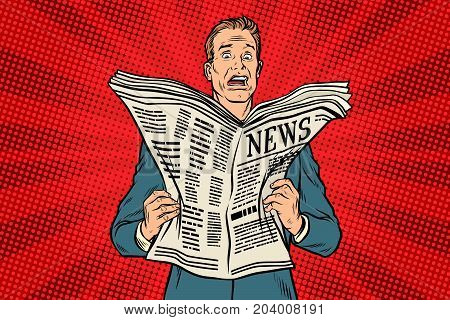 bad news in the newspaper. Businessman shocked. Pop art retro vector illustration