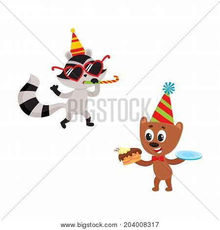 vector flat cartoon cheerful animals character happily smiling in paty hat set. brown bear eating piece of cake, raccoon having fun whistling . isolated illustration on a white background.