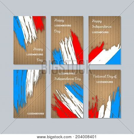 Luxembourg Patriotic Cards For National Day. Expressive Brush Stroke In National Flag Colors On Kraf