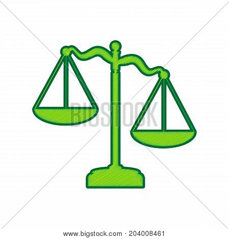 Scales of Justice sign. Vector. Lemon scribble icon on white background. Isolated