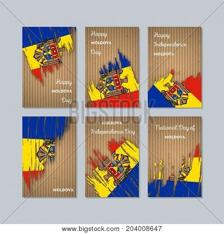 Moldova Patriotic Cards For National Day. Expressive Brush Stroke In National Flag Colors On Kraft P