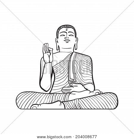 vector sketch cartoon eastern, oriental statue of sitting in Lotus posture Budda. Isolated illustration on a white background. Hand drawn Sri-lanka symbol